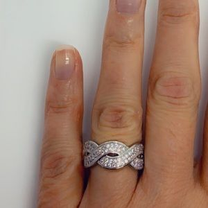 Sterling Silver Infinity Diamond Wide Band Ring